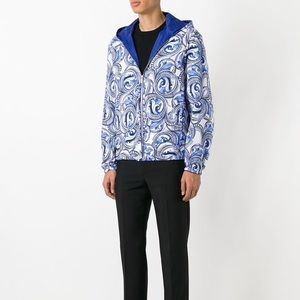 New Versace White Blue Baroque Reversible Jacket